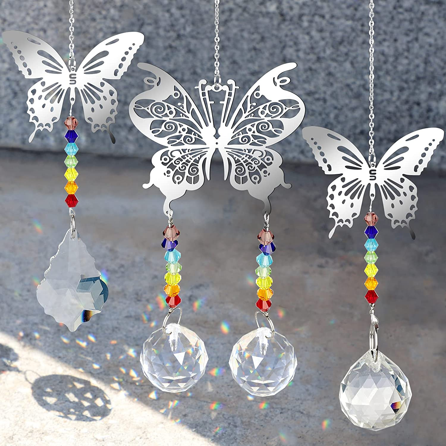 Tucson Mall 3 Pack Crystal Handmade Ball,Hanging Butterfly Safety and trust Orna