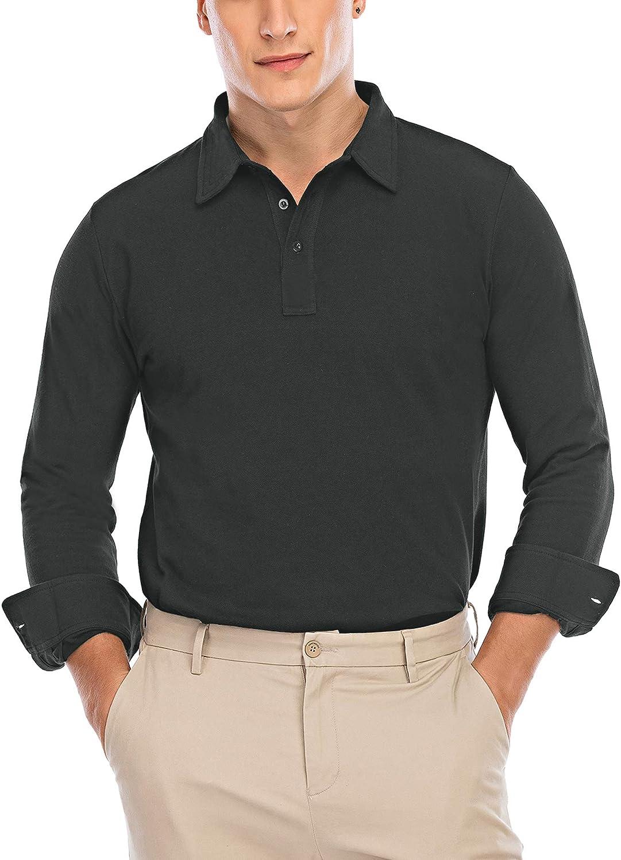 Gollala Men's Long Sleeve Polo Shirts Cotton Causal Regular Fit Mesh Pique Polo T-Shirts
