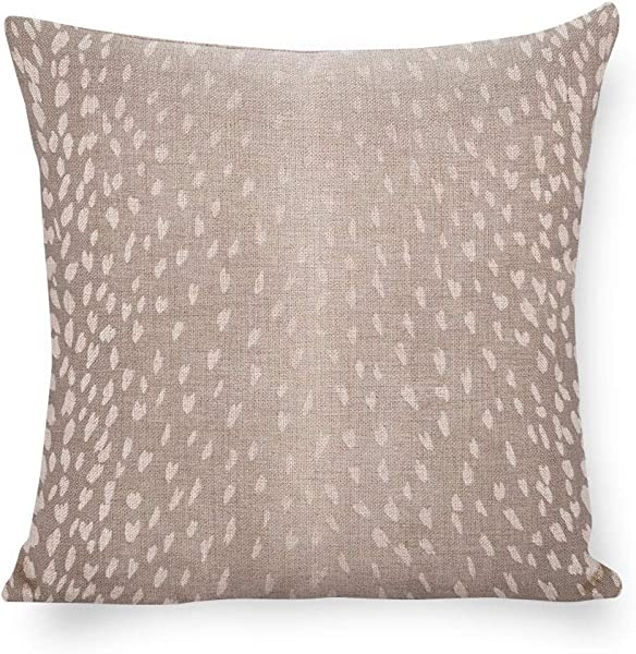 Antelope Print Pillow Cover Animal Print Accent Cushion Grey White Linen Pillow Cover Fawn Throw Pillow Fawn Throw Pillow Neutral Decor