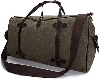 Shoulder Messenger Bag Men's Canvas Travel Bag Embroidered Large-Capacity Vintage Canvas Bag Multifunctional Portable Travel Bag Travel Bag Casual Crossbody Bag (Color : Bronze, Size : L)