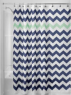 """iDesign Fabric Chevron Shower Curtain for Master, Guest, Kids', College Dorm Bathroom, 72"""" x 72"""", Aruba Blue and Coral Pin..."""
