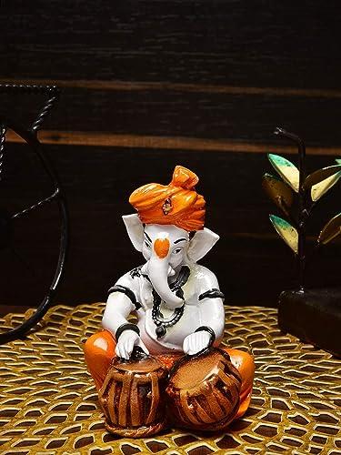 House of crafts Handicrafted Resine Orange Pagadi Dhoti Ganesha Musical Instruments Tabla Dholak Tabla Statue Home Decor Decorative Ganpati Sculpture Hindu god House Warming Diwali Gift 16cm
