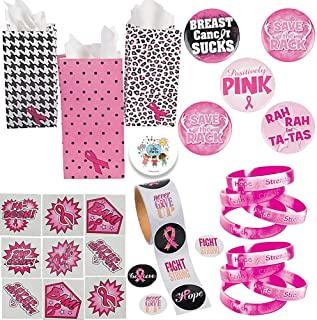 Deluxe Pink Ribbon Breast Cancer Awareness Charity Walks and Giveaways Favor Pack For 24 With MINI Treat Bags, Pink Camo Bracelets, Pink Ribbon Fun Sayings Pins, Super Hero Tattoos, Stickers, and Pin