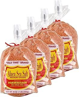 Hawaiian Red Alaea Sea Salt Medium Grains 16 oz - 4 Pack