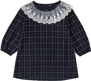 Xifamniy Infant Girls Long Sleeve Dresses Lace Design Round Neck Simple Plaid Dress