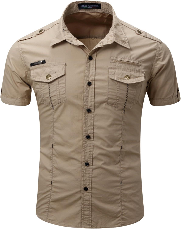 Jueshanzj Mens Shirt Slim Fit Short Sleeve Casual Cotton Button Down Shirts