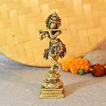 Brass Flute Playing Krishna Statue God Standing Krishan Murti Idol Figurine Home Office Puja Gifts Decor(Size 6 x 2 Inches...
