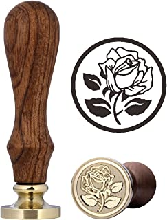 Rose Wax Seal Stamp, Yoption Vintage Retro Wax Seal Stamp with Rosewood Handle for Decorating Gift Packing, Envelopes, Invitations, Cards, Valentine Card (The Rose #3)