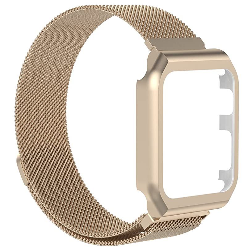 Watch Band for iWatch, MoreToys Milanese Loop Stainless Steel Replacement Wrist Band Strap with Metal Protective Case for Apple Watch Series 3, Series 2 and Series 1 (38MM, Champagne)