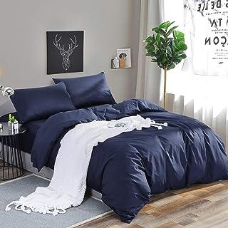 RUIKASI Deckenbezug 200x220 Dunkelblau, Weiche Mikrofaser Bettwäsche, Anti Milben und Allergiker Bettbezug 200x220 cm