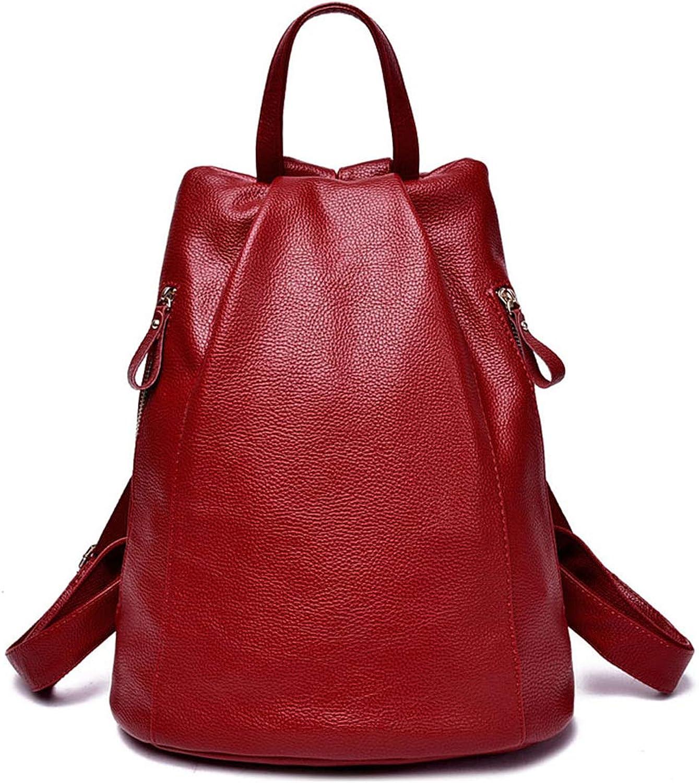 Frauen Rucksack Weibliche Pu-Leder Frauen Eimer Ruckscke Tasche Reisetaschen Rucksack Mehrzweck Umhngetaschen Wine rot