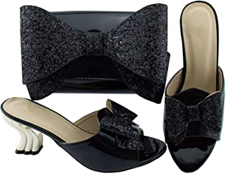 Italian Ladies Shoes and Bags to Match Set Shoe and Bag Women Italian African Party Pumps Shoes and Bag,Black,9.5