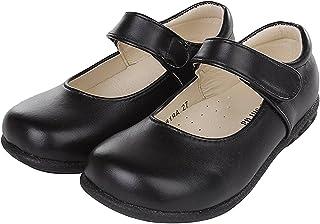 [ZKKK] 女の子靴 かわいい プリンセス靴 革靴 ガールズ春靴 マジックテープ 秋 ブラック学生靴 通気性よい 滑り止め PU カジュアル 祝日 演出