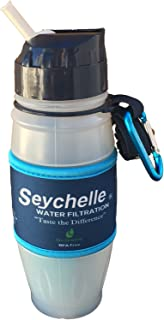 Seychelle pH2O Pure Water Filtration Bottle – Dual-chambered pH20 filter with Alkaline pH Enhancing Filter and Radiological Filter