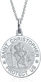 Personalized Saint Christopher Parton Travel Religious Medal Medallion Pendant Necklace Sterling Silver Custom Engraved