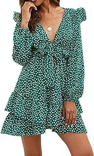 Women's Vintage Ruffles Empire Waist Long Sleeve Midi Dress