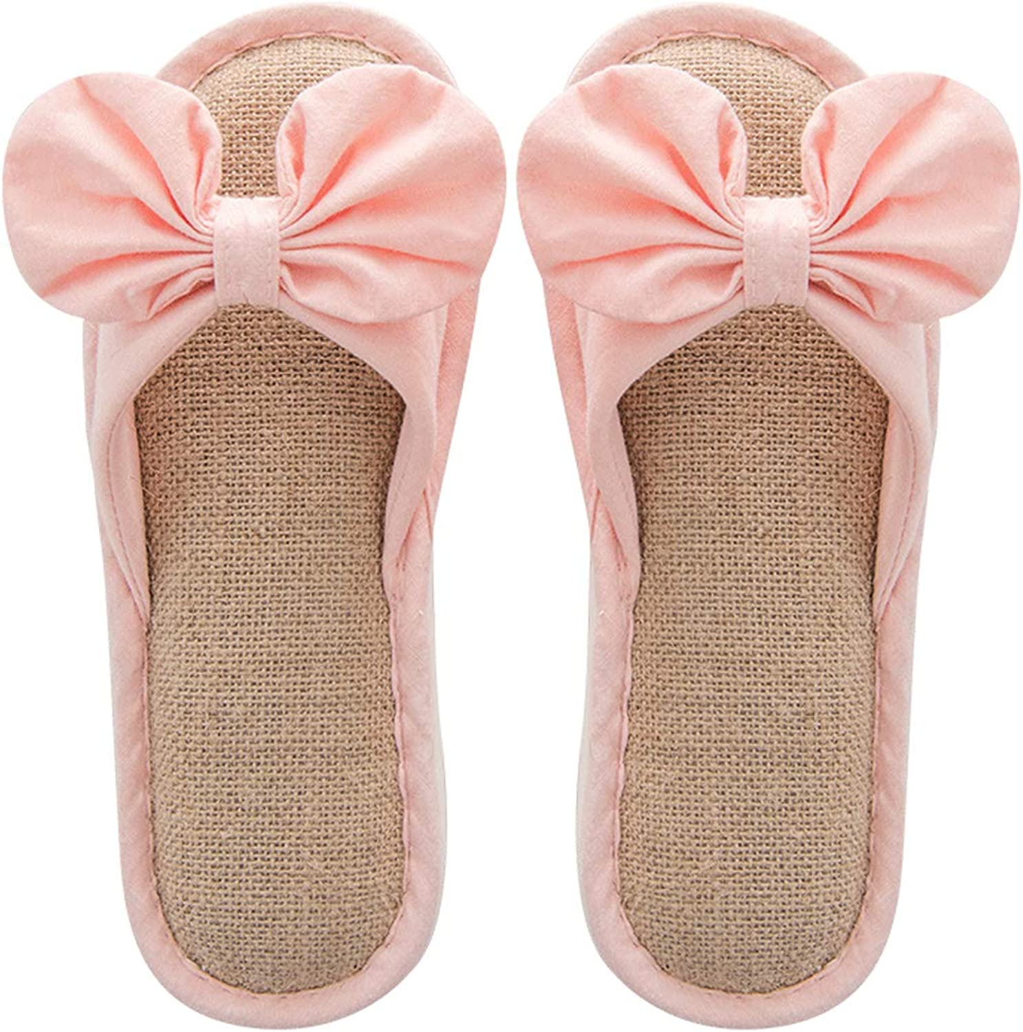 Women Bow Cute Home shoes Comfortable Linen Non-Slip Mute Slippers Indoor Slippers Home shoes