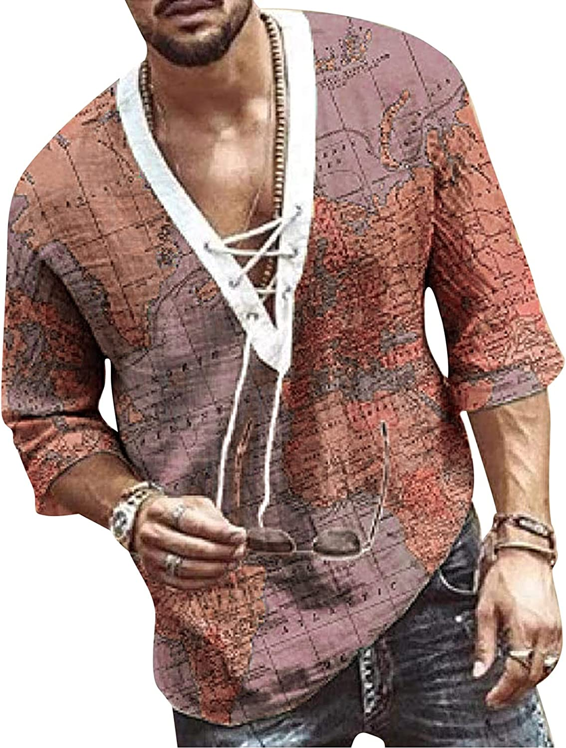 FUNEY Mens Henley Shirts V Neck Paisley Printed Drawstring Half Sleeve Hippie Casual Lace Up T Shirt Summer Beach Tops
