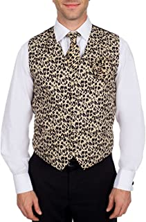 Mens Animal Print Tuxedo Formal Vest, Tie and Hanky Set - XS - 5XL