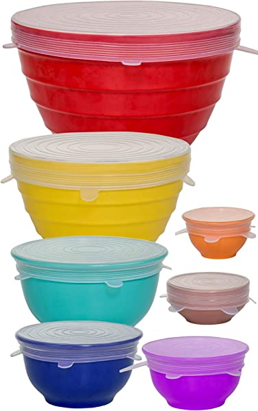 Reusable Silicone Stretch Lids Incl XL Set Of 7 Versatile Silicon Covers Fits Any Container Or Bowl To Keep Food Fresh For Cooking Storing And Reheating Easy To Clean Bonus Storage Bag