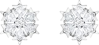 اقراط اذن نسائية مطلية بالروديوم مزينة بالكريستال الأبيض من سواروفسكي 5428430