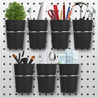 Awekris Pegboard Hooks with Cups, 7 Sets Pegboard Bins with Rings Pegboard Cup Holder Accessories for Organizing Black