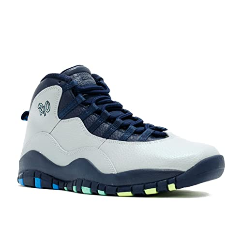 b983a92d19fa Nike Mens Air Jordan 10 Retro Rio Grey Blue Leather