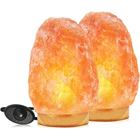 Himalayan Glow 1003B Natural Pink, Night Light,Hand Carved Crystal Wooden Base,Salt Lamp Bulb,(ETL Certified) Dimmer Switch   11-15 LBS (Pack of 2)