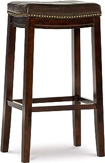 Linon Claridge Patches Bar Stool, 32-Inch, Brown