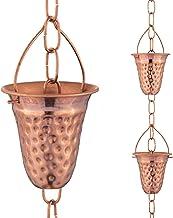 Marrgon Cadena de lluvia martillada de cobre – Campanas decorativas y tazas reemplazan el canalón hacia abajo y desvian el...