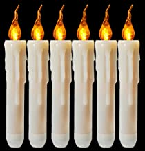 Flameless Yellow Flickering Led Taper Candle Battery Operated Vivid Fake Wax Dipped Amber Flicker Led Small Candles For Ch...