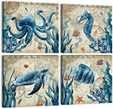 Ocean Animal Bathroom Wall Art Teal Canvas Sea Turtle Seahorse Octopus Fish Paintings Prints 4 Panels Nautical Beach Theme...