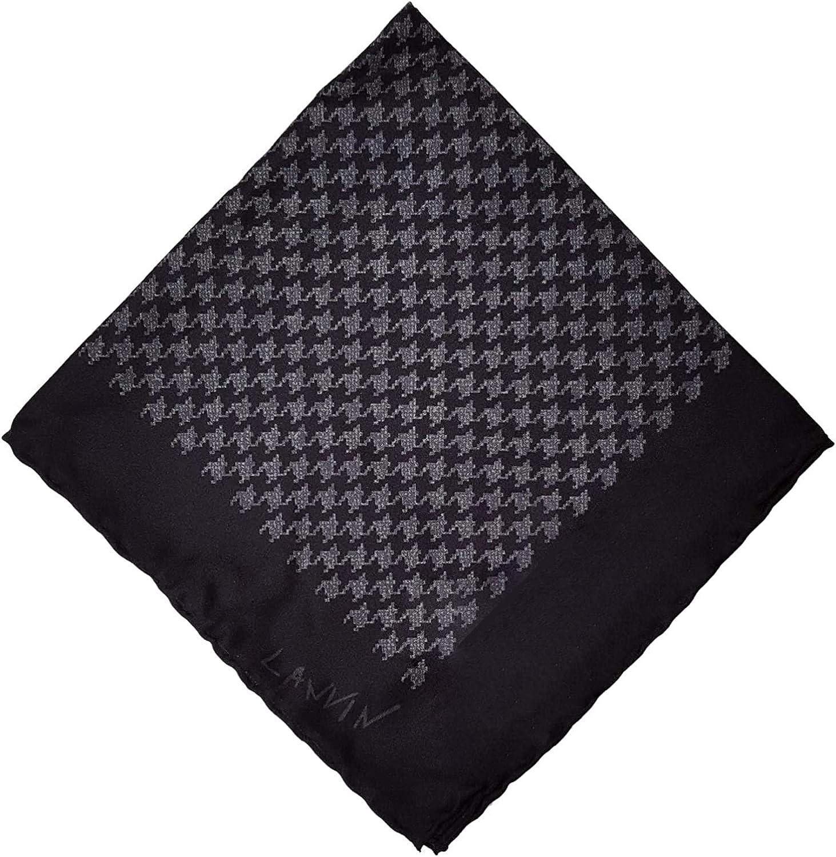 Lanvin Men's Houndstooth Print Silk Pocket OS Square Grey Ranking TOP1 San Antonio Mall
