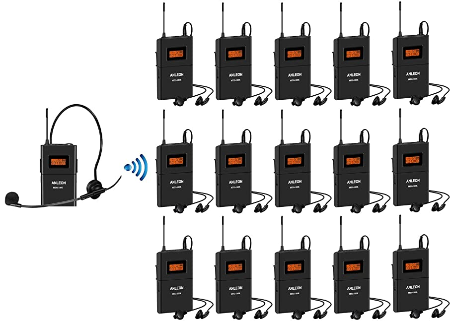 New Anleon MTG-100 UHF Wireless Tour Guide System 902-927mhz For Tour Guides Museum Church Translation etc. (1 transmitter & 15 receivers)
