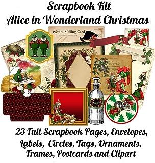 Scrapbook Kit: Alice In Wonderland Christmas, 23 Full Scrapbook Pages, Envelopes, Circles, Labels, Tags, Ornaments, Frames...