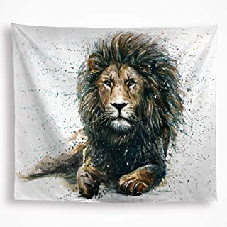 Lion Animal Tapestry Wall Hanging African Leo Drawing Fabric tapestry Colorful Watercolor Wildlife Home Décor Art for Boy Bedroom Living Room Dorm 59X82.6, White