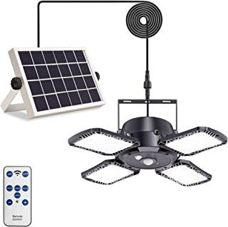 Solar Pendant Lights Yomisga Solar Indoor/Outdoor Light with Motion Sensor, 4 Lighting Modes with Remote Control, 128 LED ...