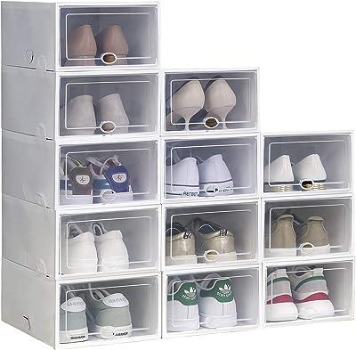 Cajas de almacenamiento de zapatos de plástico transparente apilable, caja de zapatos plegable, caja de almacenamiento