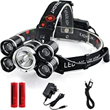 LED Headlamp, Loyalfire 5 Headlamp Bright Light Headlight Flashlight 4 Modes XML-T6 LED with Red Light Rechargeable and Waterproof Switch, for Camping/Travel/Adventure/Running