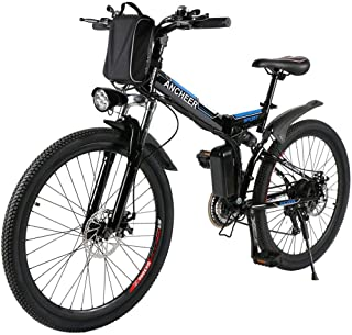 """ANCHEER 26/16"""" Electric Bicycle Electric Mountain Bike for Adult with 36V 8Ah Lithium-Ion Battery Ebike, Professional 21 Speed Gears"""