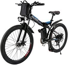 ANCHEER 2019 Folding Electric Mountain Bike/Ebike, 26''Electric Bike with 36V 8AH Lithium-Ion Battery for Adult, and Dual Disc Brake