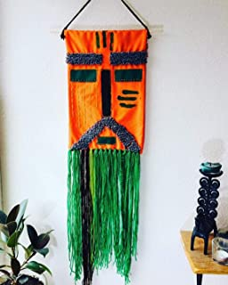 Narrow boho wall hanging tapestry applique mask Shaman 10x40 inch