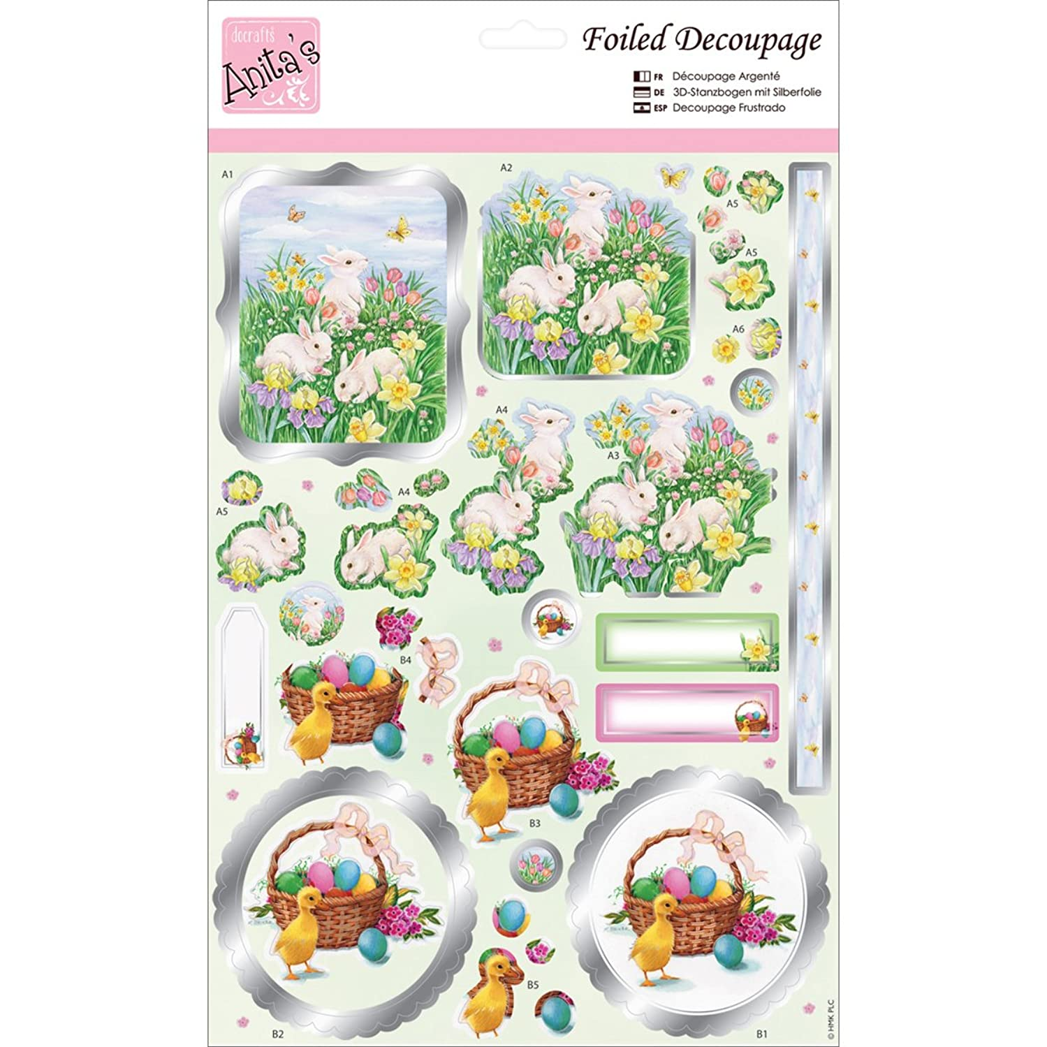 DOCrafts ANT169635 Anita's A4 Foiled Decoupage Sheet, Rabbits & Meadows, Multicolor