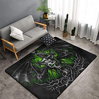 Soft Area Rug Large 60 x 39 inches Rug Dining Room Living Room Carpet Luxury High Dense Rugs Traditional Rugs (Halloween Horror Posable Skeleton Skull)