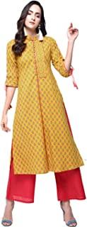 Zoeyams Womens Mustured Cotton Printed Long Straight Kurta With Cotton Palazzo