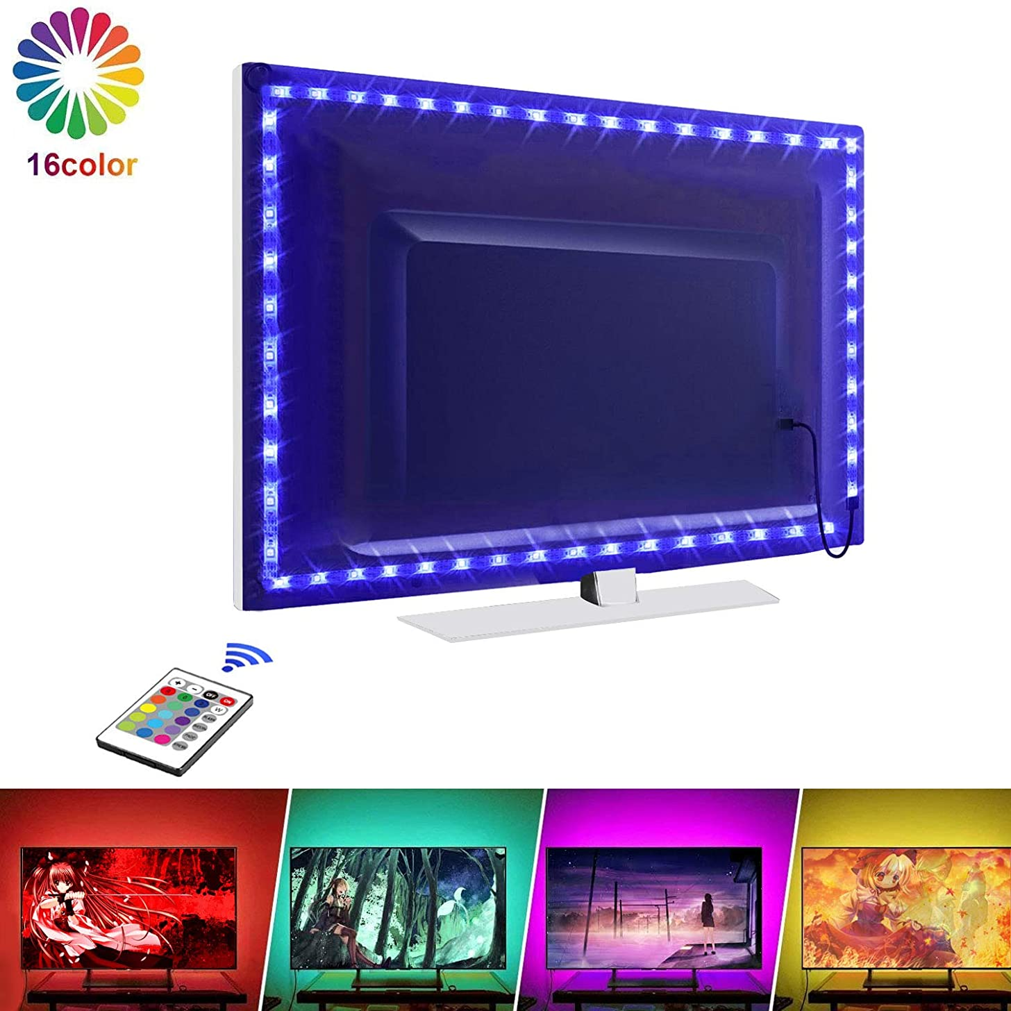 TV LED Light Strip, LED TV Backlight, 30 LED Bias Light with 16 Changing Colors & RF Wireless Remote Controller, USB Powered Waterproof Bias Lighting for TV Desktop PC