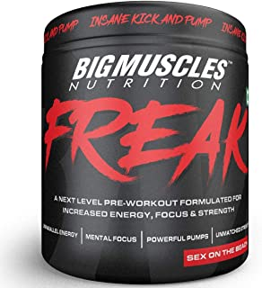 Bigmuscles Nutrition Freak Pre-Workout [30 Servings, Sex on the Beach]-Explosive Energy, Enhanced Focus, Muscle Strength, Recovery, Legendary Performance