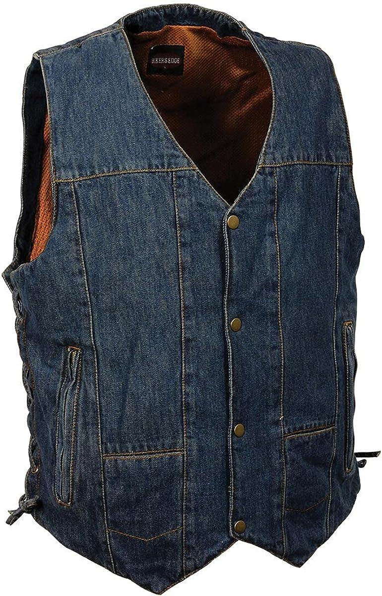 Milwaukee Leather DM1989 Men's Blue Denim 10 Pocket Side Lace Vest