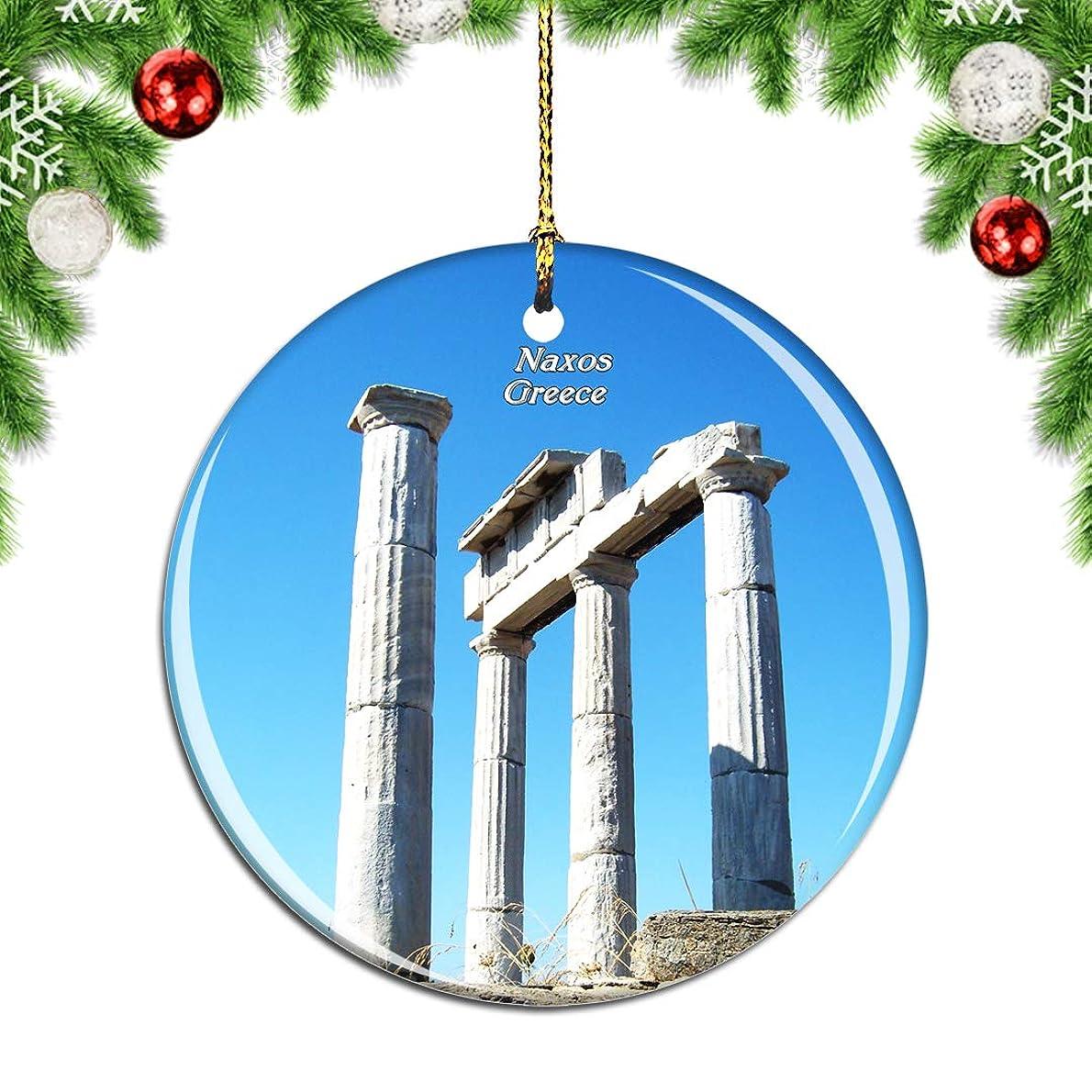 インタネットを見る人物目指すWeekinoギリシャデメテルナクソス神殿クリスマスデコレーションオーナメントクリスマスツリーペンダントデコレーションシティトラベルお土産コレクション磁器2.85インチ