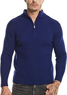 SATINIOR Men's Casual Soft Knit Long Sleeve Zip Up Mock Neck Polo Pullover Sweater